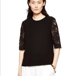Kate Spade Black Lace Sleeve Top